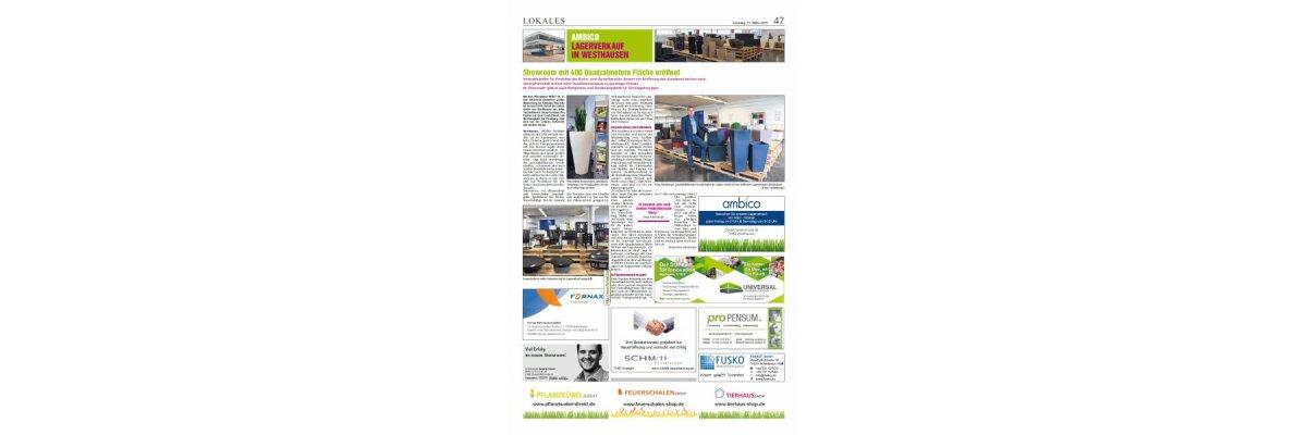 Zeitungsartikel in der Schwäbischen Post  - Zeitungsartikel Lagerverkauf