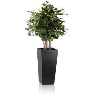 Pflanzkübel LAVIA 70 Fiberglas schwarz matt