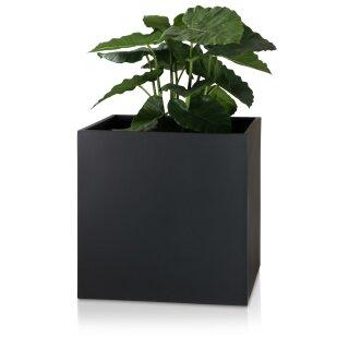 Pflanzkübel CUBO 60 Fiberglas schwarz matt