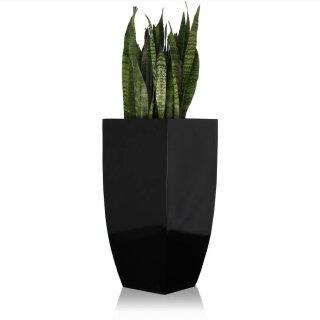 Pflanzkübel TARRO ALTO 90 Fiberglas schwarz hochglanz