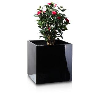 Pflanzkübel CUBO 60 Fiberglas schwarz hochglanz