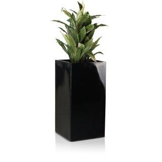 Pflanzkübel TORRE 80 Fiberglas schwarz hochglanz