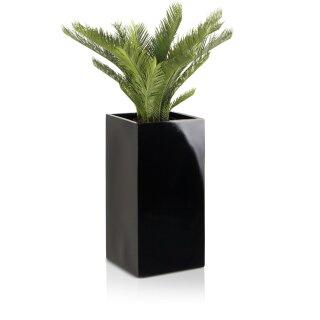 Pflanzkübel TORRE 60 Fiberglas schwarz hochglanz