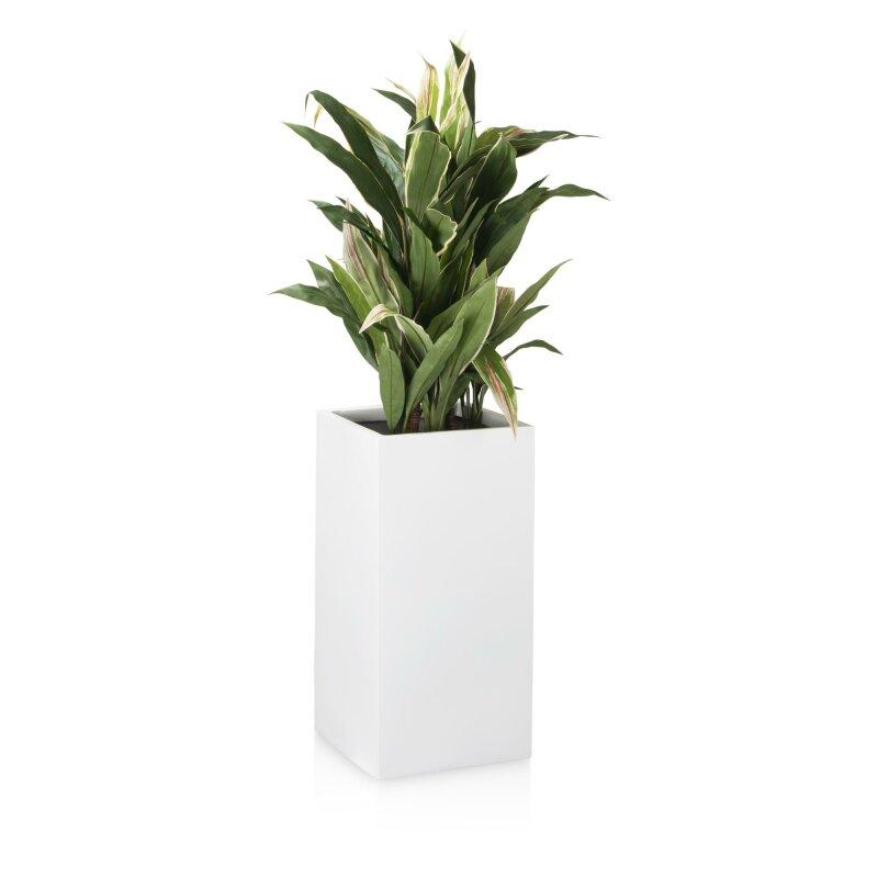 Blumenkübel TORRE 60 Fiberglas weiß matt