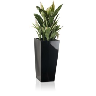 Pflanzkübel LAVIA 70 Fiberglas schwarz hochglanz