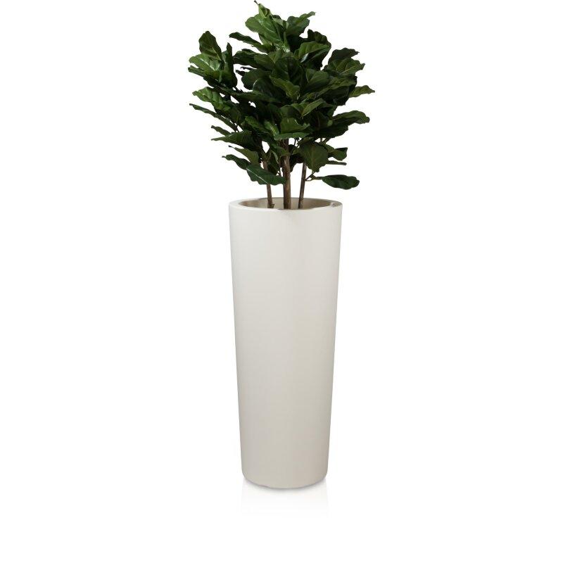 Konischer, runder Blumenkübel hoch Kunststoff weiß